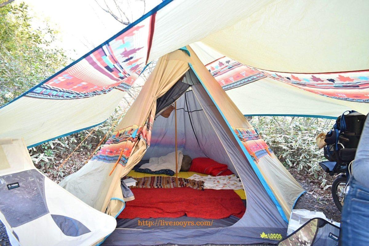 北本キャンプフィールドでロゴスナバホTepee400を設営