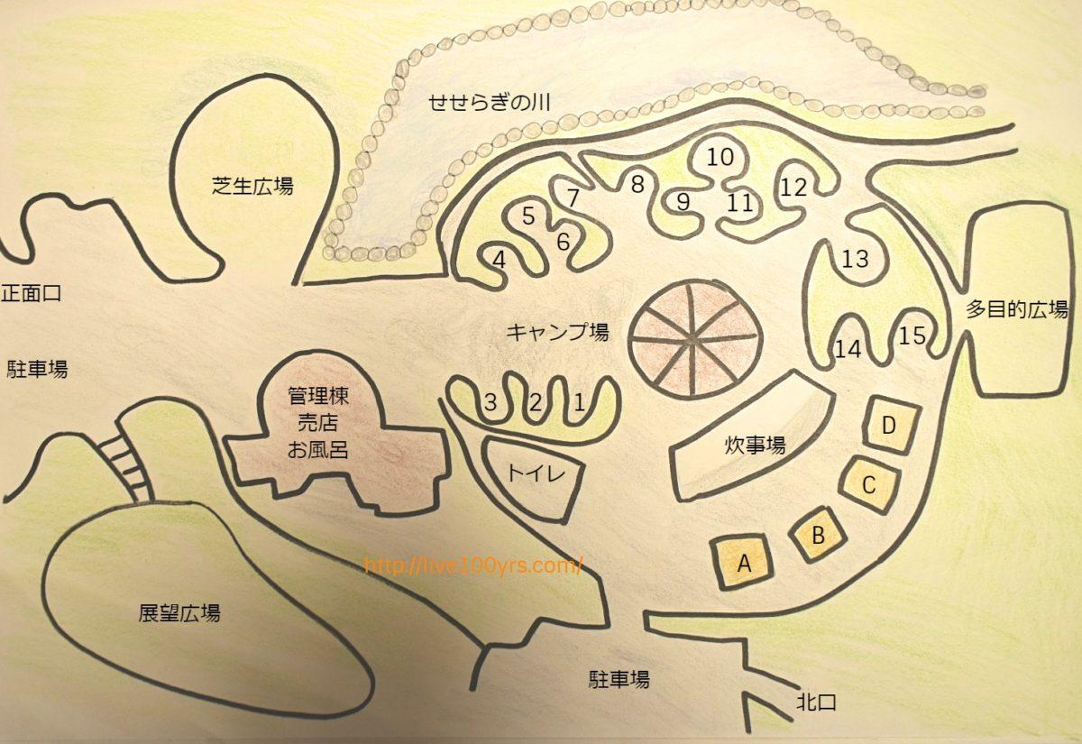 北本市キャンプフィールドのキャンプマップです