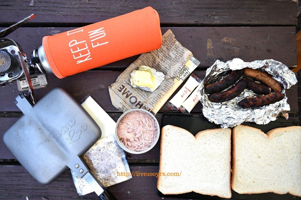 北本キャンプフィールド2日目の朝食はホットサンドです。