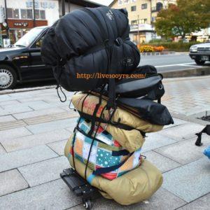 キャリーカートを使用した電車キャンプの荷物
