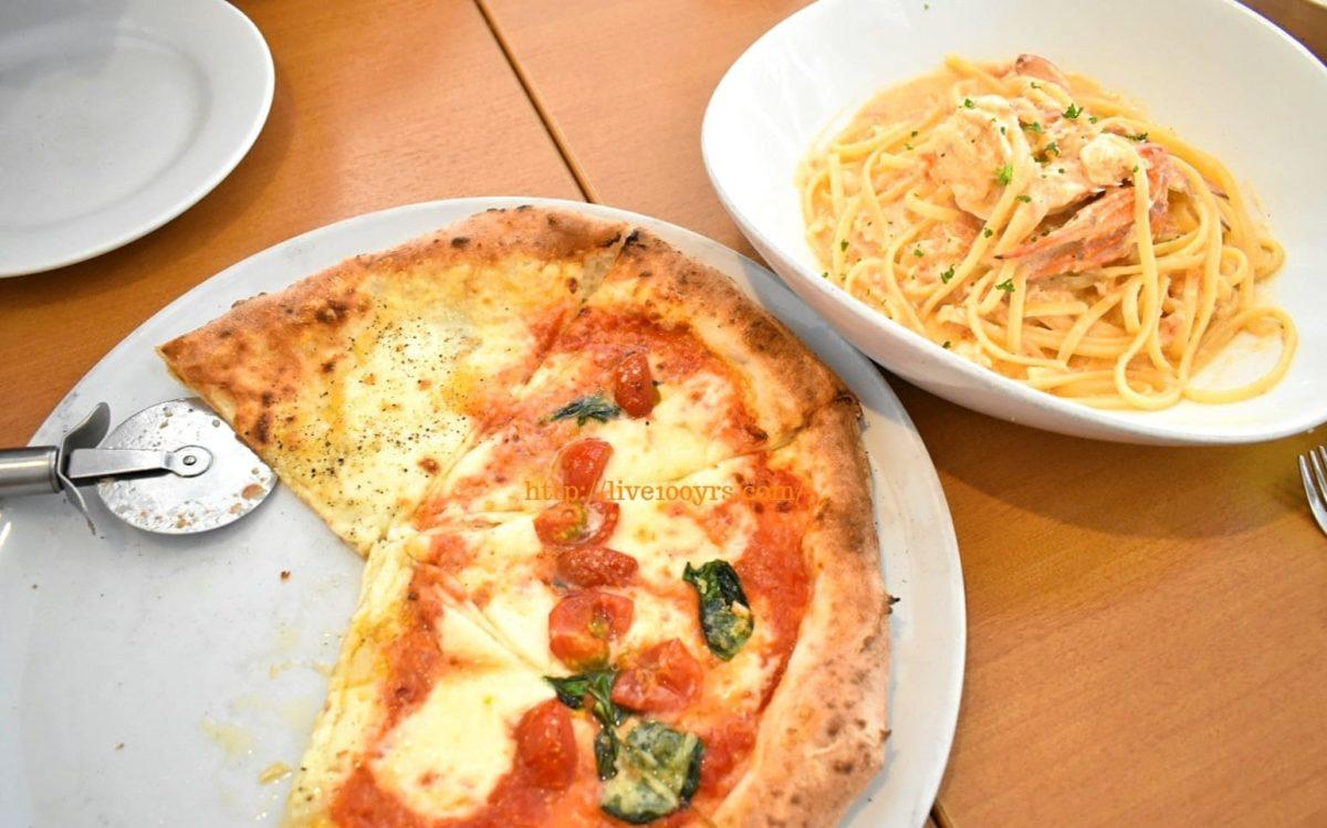北本市イタリアンレストランアドマーニでピザとパスタを注文