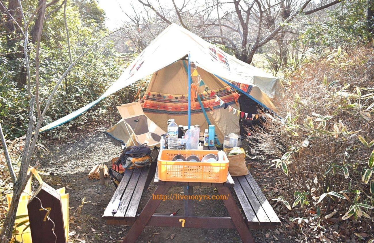 北本キャンプフィールドのサイトは狭いです