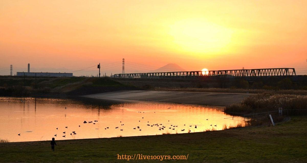 彩湖から見える富士山