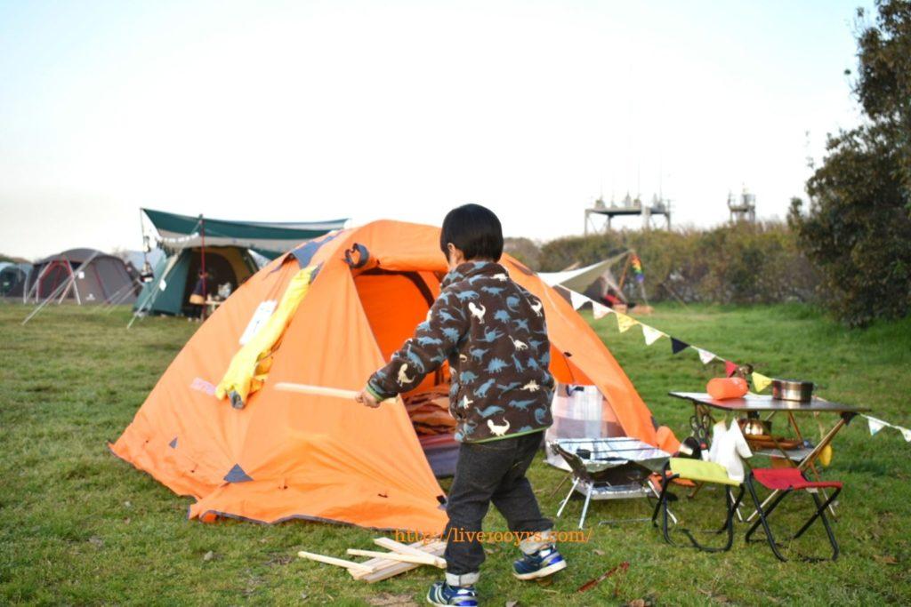 ソレイユの丘オートキャンプ場のフリーサイトの様子