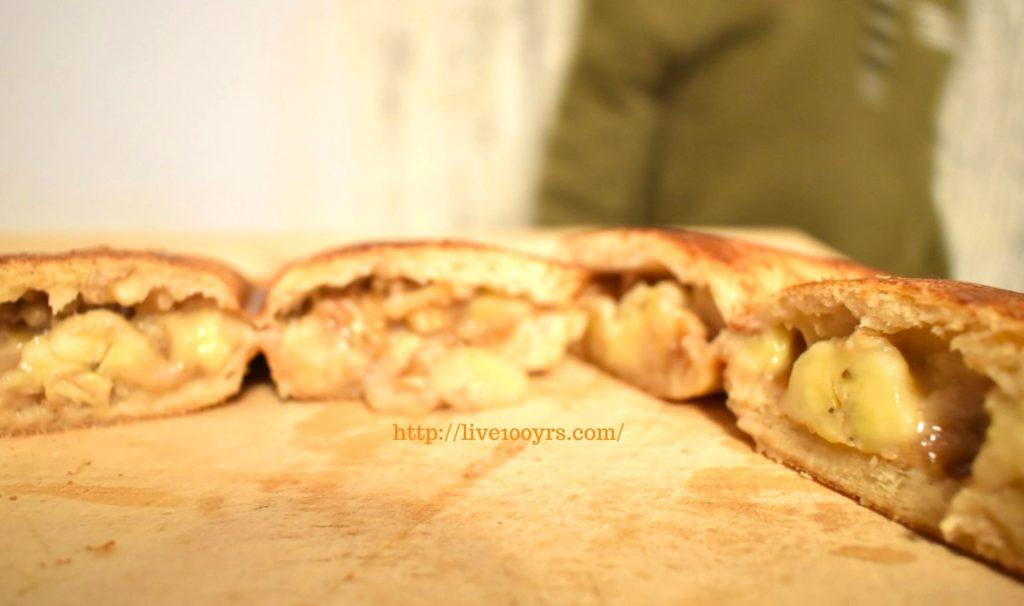 くるみとバナナとピーナッツバターのホットサンドレシピの断面図です