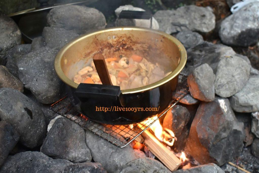 氷川キャンプ場の直火でカレー作り
