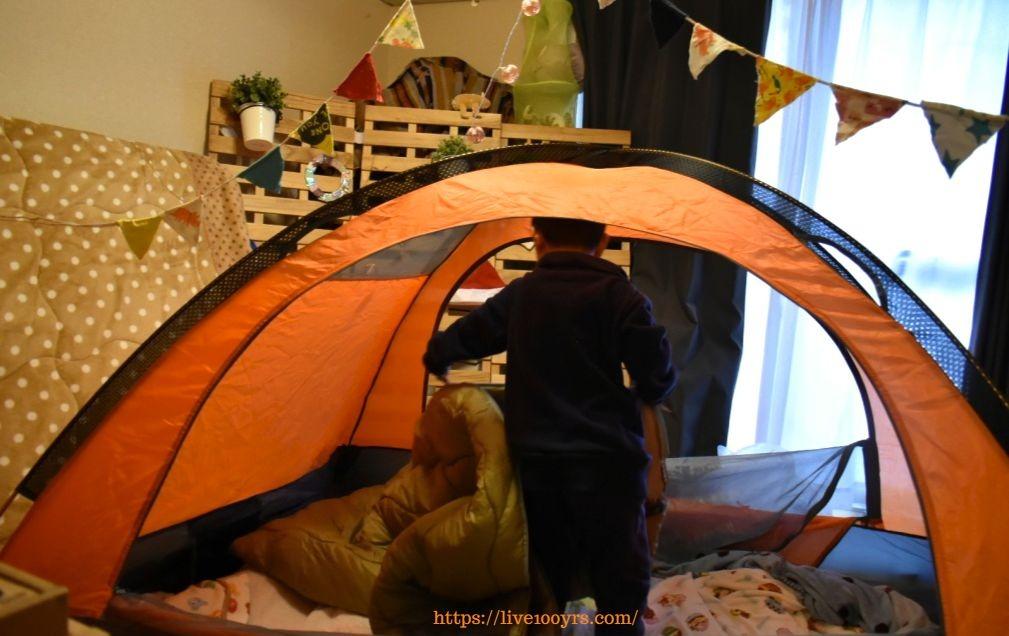 おうちキャンプで寝袋を使用