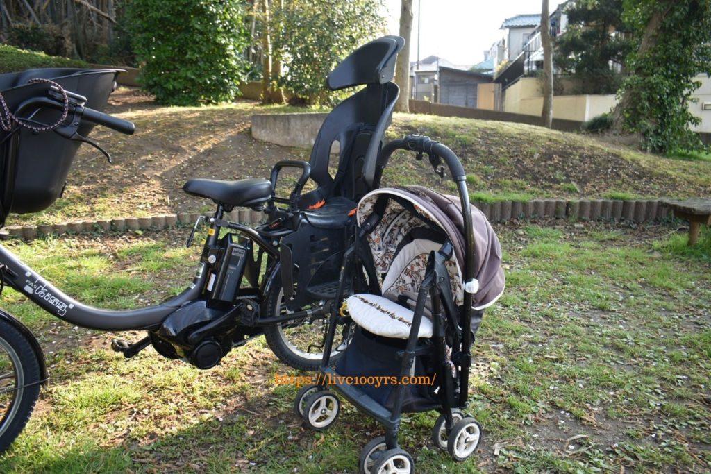 電動アシスト自転車とベビーカー