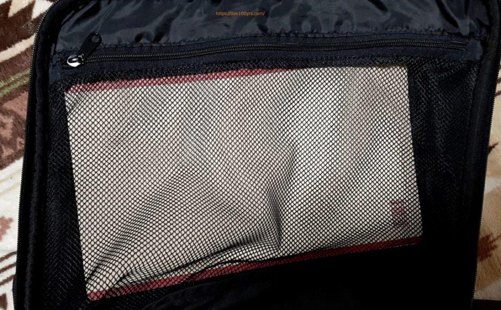umbroボストンキャリーバックの内側メッシュポケット