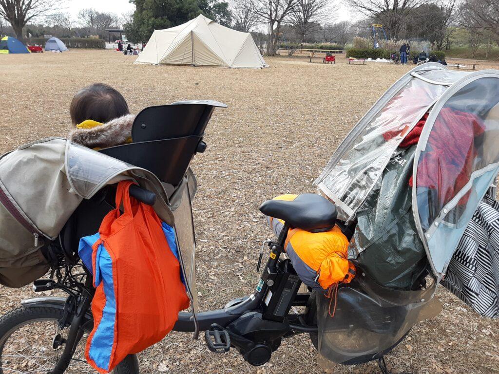 彩湖・道満グリーンパークで自転車母子デイキャンプの荷物